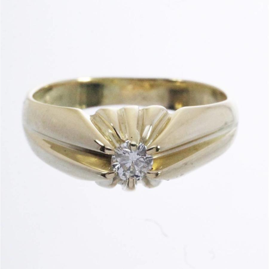 14 krt geel gouden Tiffany ring bezet met 0.18ct briljant geslepen Diamant
