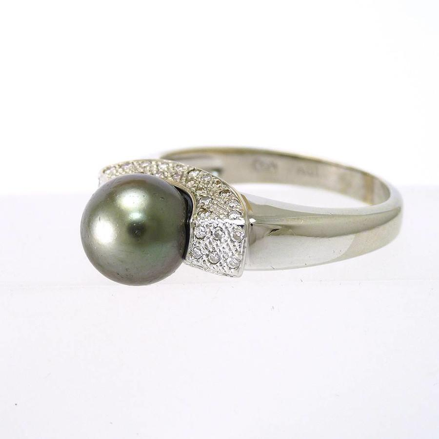 Occasion 18 karaat wit gouden ring met cultivé oesterparel