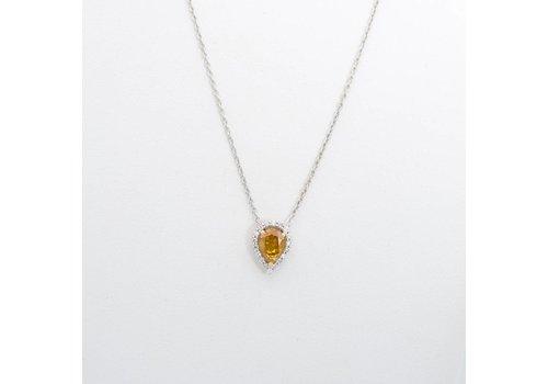 18 krt. wit gouden hanger en collier