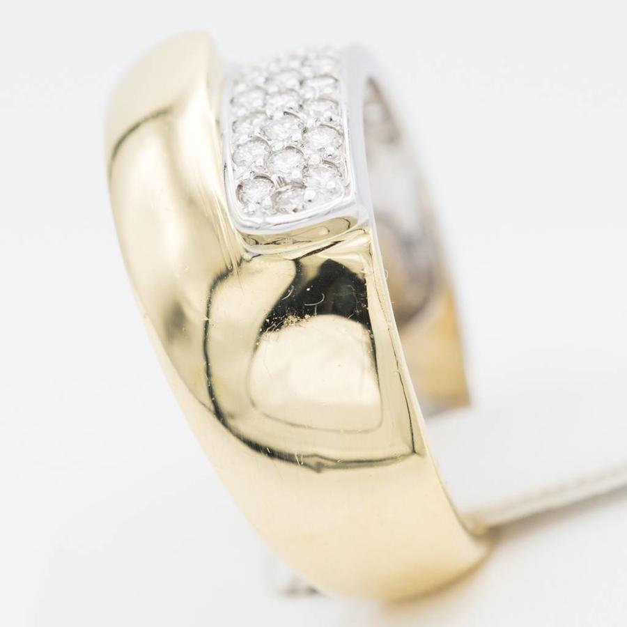 18 krt. bicolour ring with diamond stones