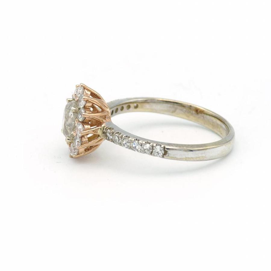18 krt. bicolor gouden ring gezet Diamanten