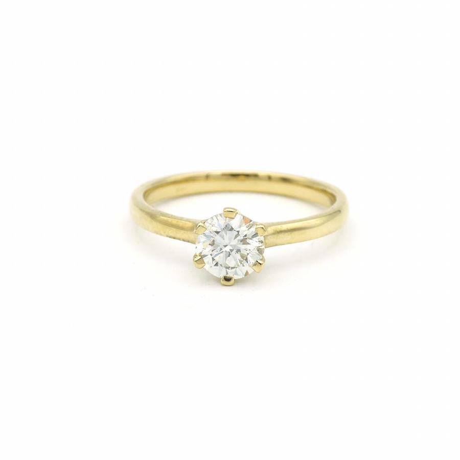 18 krt. geel gouden ring met briljant