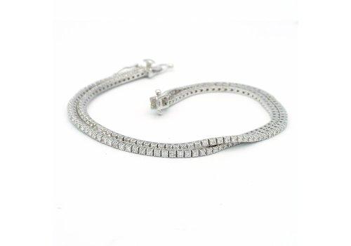 18 krt. wit gouden dubbelrij armband met briljanten