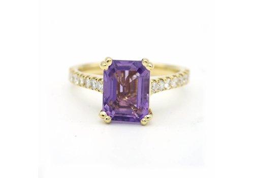 18 krt geel gouden ring met amethist en diamant