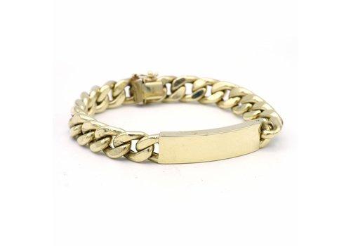 14 krt geel gouden naamplaat armband