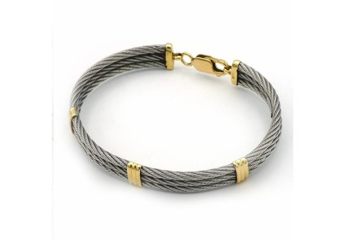 Occasion 14 krt.  armband goud en staal