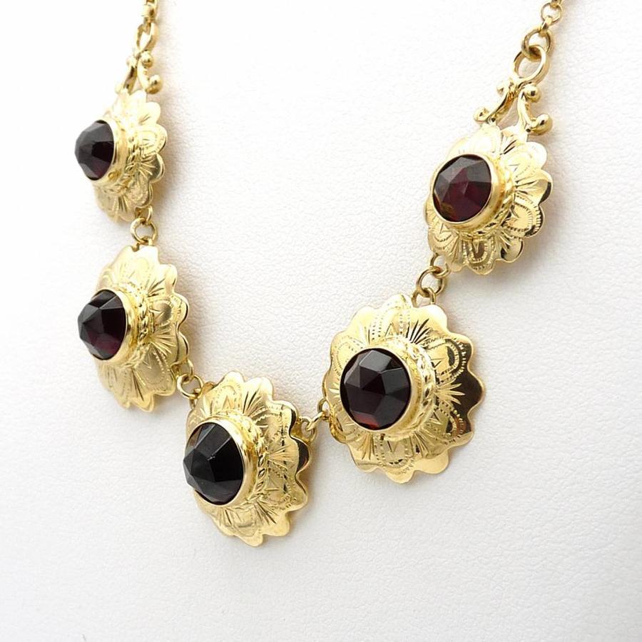 Occasion 14 krt gouden collier met Granaat