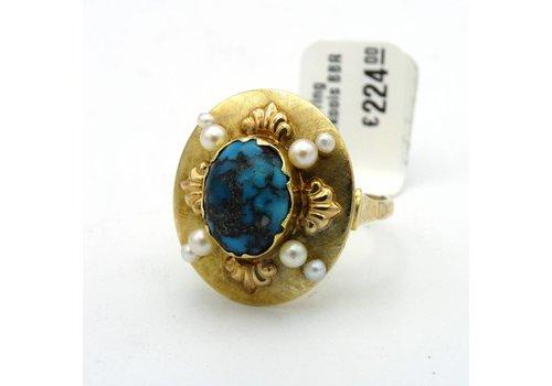 14krt gouden ring met parel en turkoois
