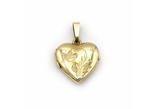 Occ. 14 krt. gouden medaillon in hart vorm