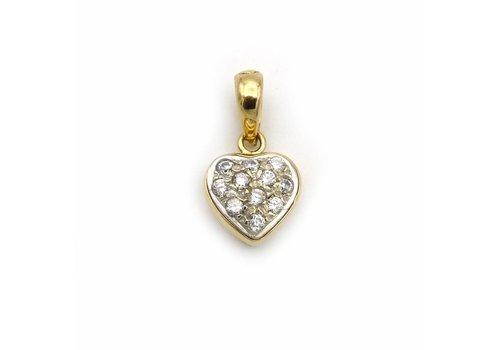 Occ. 18 krt. geel gouden hanger hart met briljant