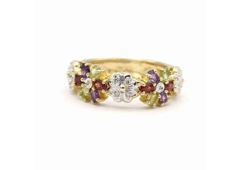 Occasion 14 krt. gouden ring  met verschillende kleurstenen