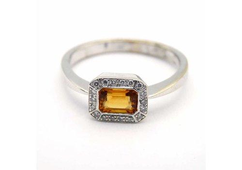 Occasion 14krt gouden ring met 18 briljanten en citrien
