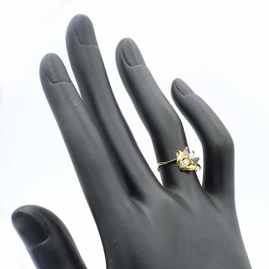 18krt gouden ring met robijn, saffier, smaragd en zirkonia