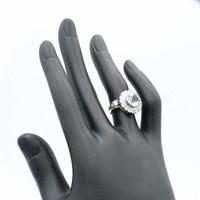 Occasion 14krt wit gouden ring gezet met 1crt briljant en echte topaas