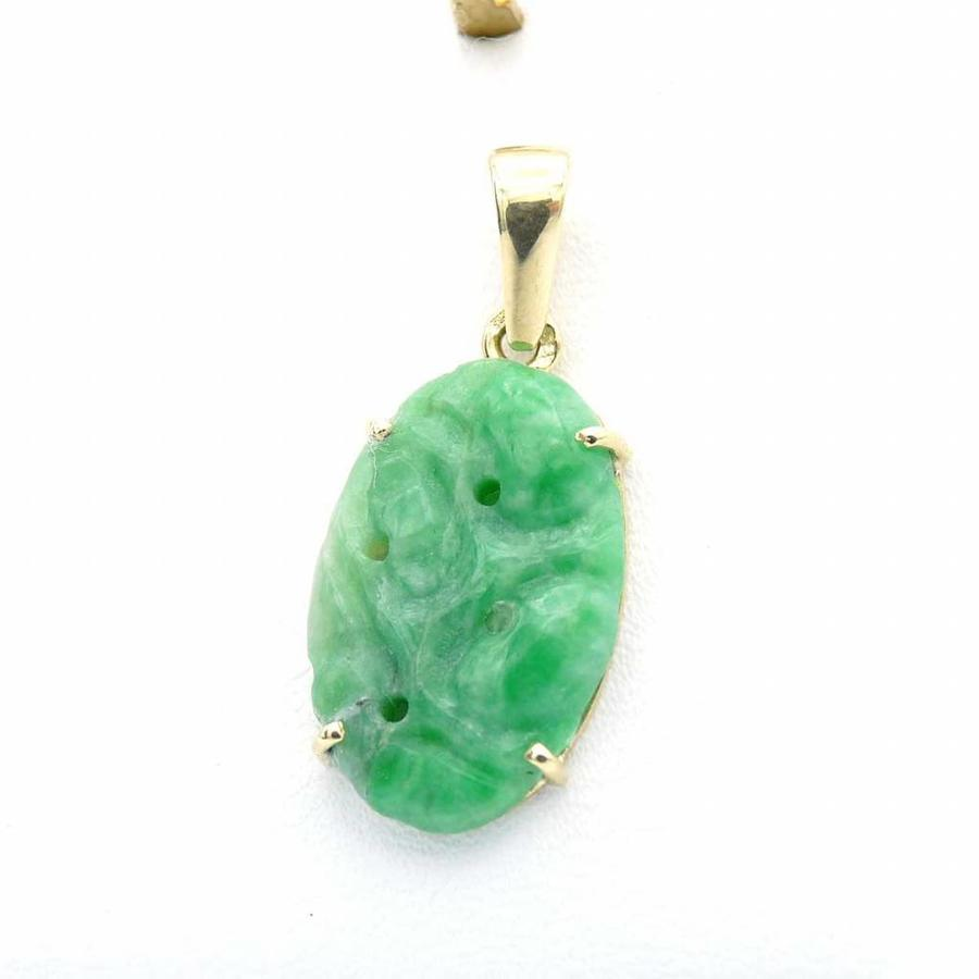 Occasion 14krt gouden hanger Jade