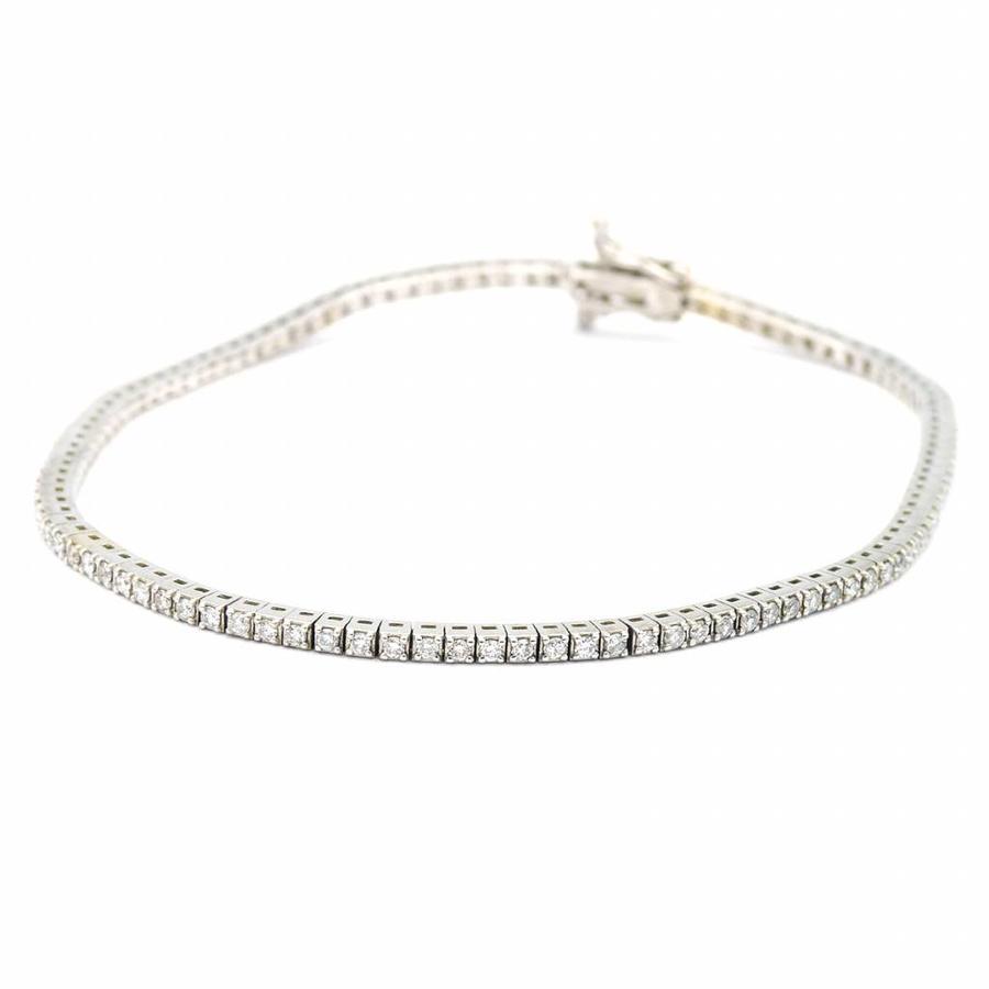 18 krt. wit gouden armband met briljant