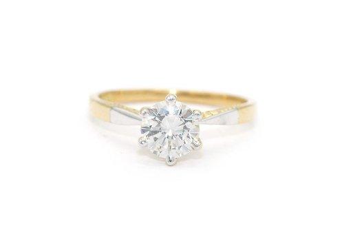 Occasion 14 krt. geel gouden solitair ring met Briljant incl. certificaat