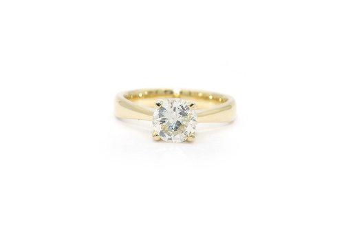 18 krt. geel gouden solitair ring met Briljant