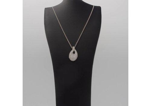 Zilveren hanger metZirkonia en zilveren collier
