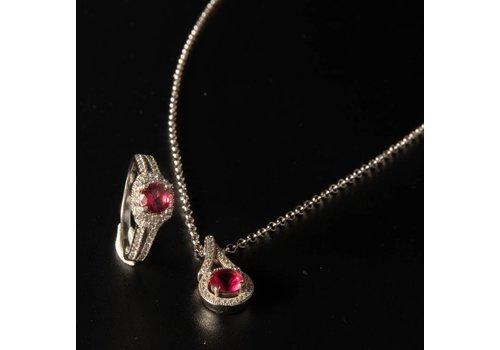 Set Zilver collier met hanger  en ring