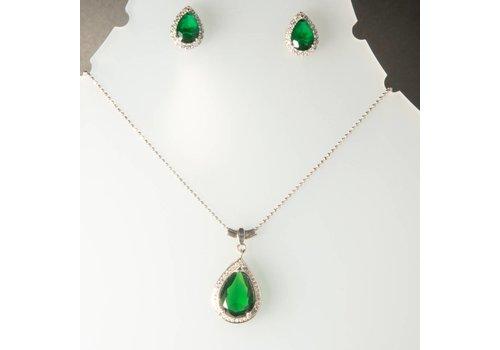 Set: zilver collier, hanger, ring en oorbellen met Zirkonia