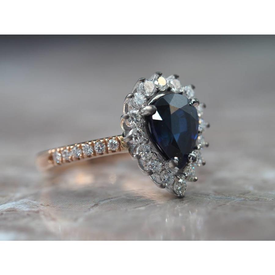 18k roséen wit gouden ring met echte Saffier en Briljant