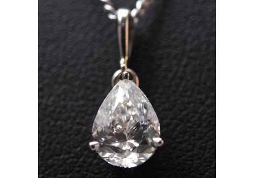 18k witgouden hanger met peervormige  Diamant
