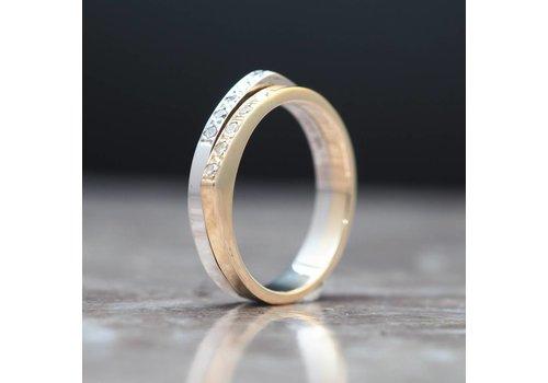 Occasion bicolor ring met Briljanten