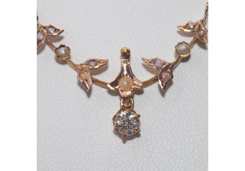 Occasion 18k hanger/collier met Bolsjewiek geslepen  Diamant