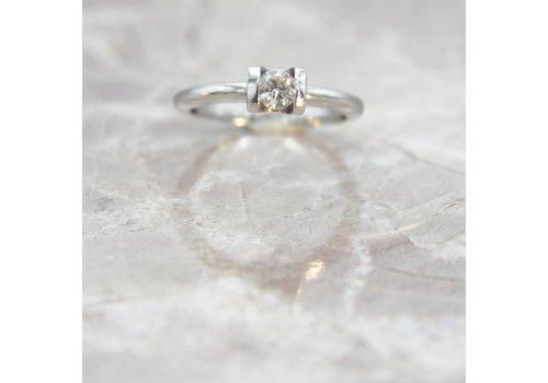 14k witgouden ring met Briljant