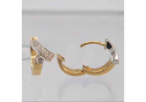 14k bicolor gouden oorstekers met Briljant