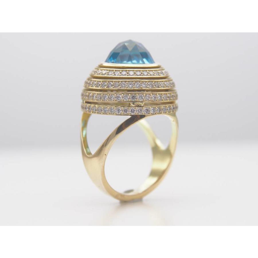14k geelgouden ring met echte Topaas en Briljanten