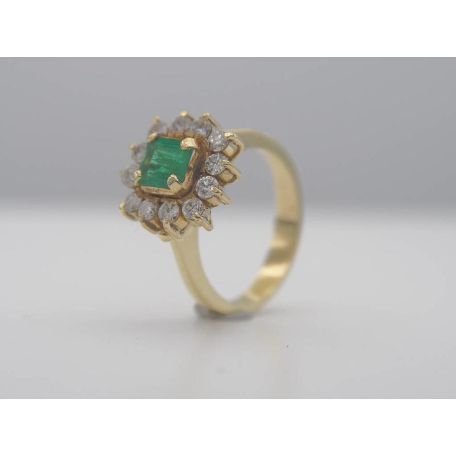 14k geel gouden ring met natuurlijke Smaragd en Briljant