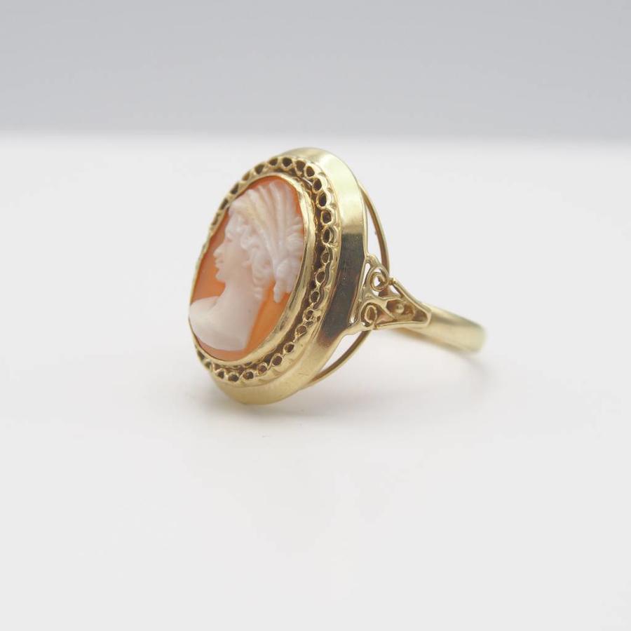 14k geel gouden ring met Camee