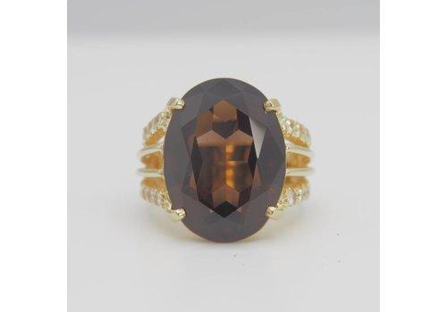 14k geel gouden ring met Rookkwarts en Briljant