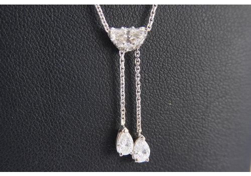 14k wit gouden choker met Diamant