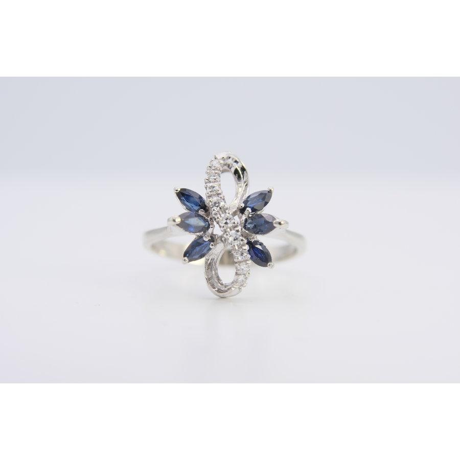 18k wit gouden ring met Diamant en Saffier