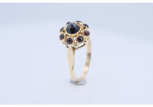 14k geel gouden ring met Granaat