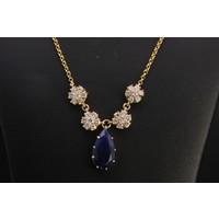 14k collier met Briljant en Lapis Lazuli