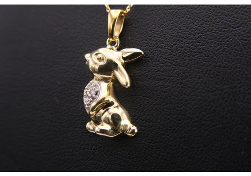 14k hanger konijn met Briljant