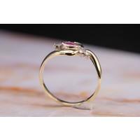 14k gouden ring met Smaragd Robijn en Briljant