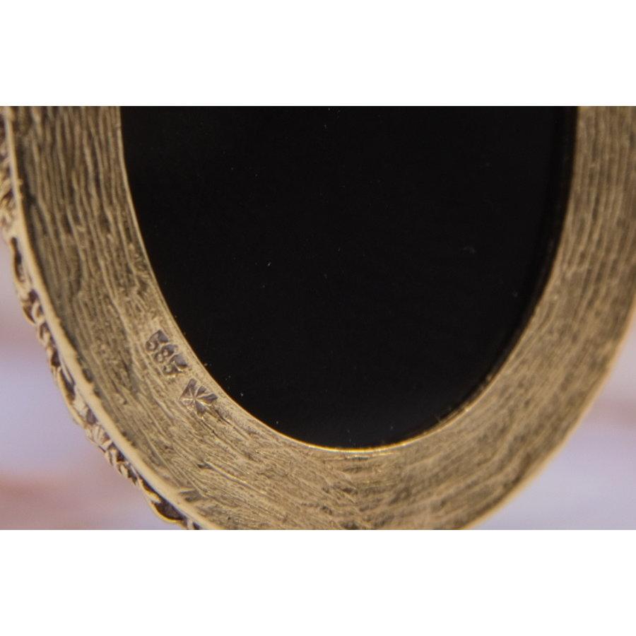 Set 14k broche/hanger en ring met blauwe lagensteen Camee