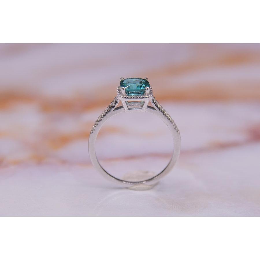 18k wit gouden ring met Tourmalijn en Briljanten