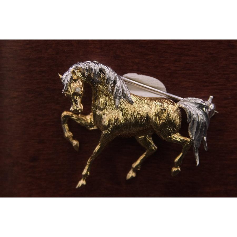 18k bicolor broche paard met Briljant