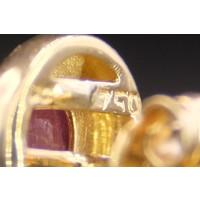 18k geel gouden oorknoppen met Parel, Robijn en Briljant