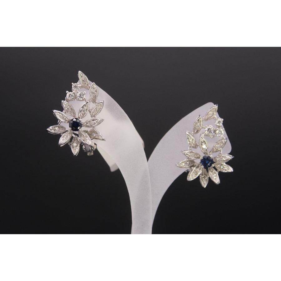 18k wit gouden oorknoppen met echte Saffier en Briljant