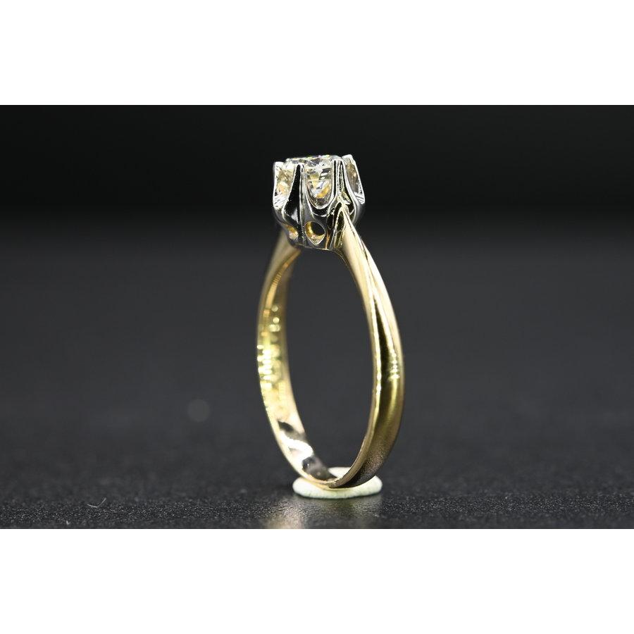 occasion 14k bicolor solitaire ring met briljant