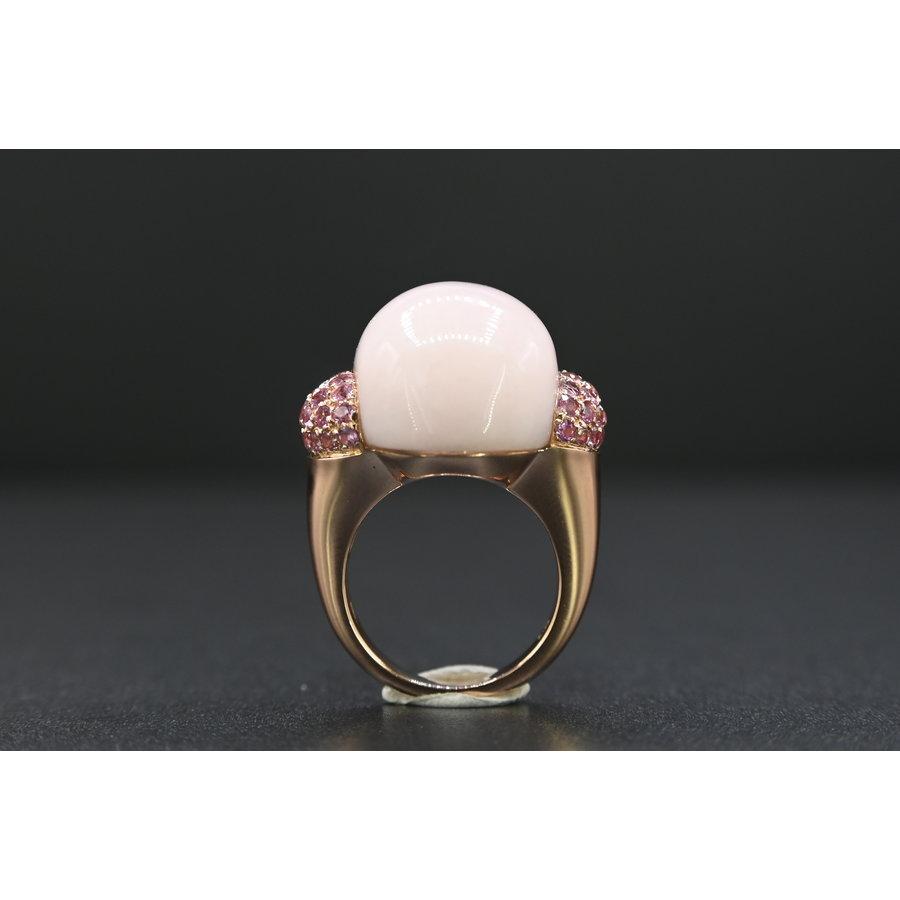 18 karaat rosé gouden ring met jade