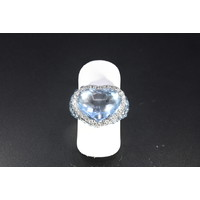 Occasion Witgouden ring met Topaas