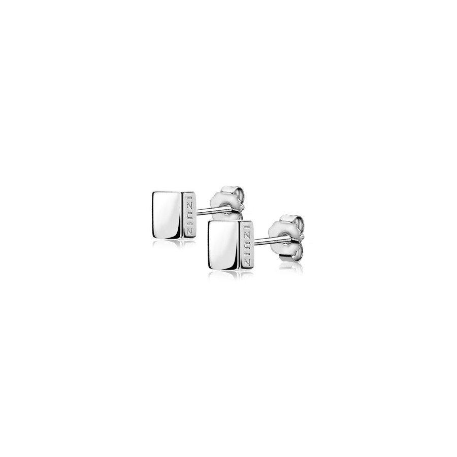 ZINZI zilveren oorknoppen glad vierkant 5,5mm ZIO1381 U.UR